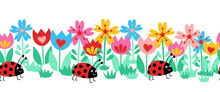 Seamless Kids Vector Border Ladybugs And Flowers. Cute Floral Animal Repeating Horizontal Pattern. Summer Background Children Decor. Hand Drawn Illustration Fabric Trim, Banner, Wall Decals, Footer.