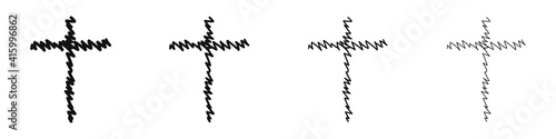Canvas-taulu Set of hand-drawn Christian crosses isolated on white background