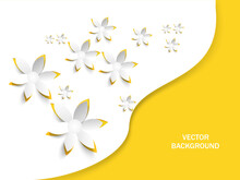 Paper Cut Flowers On White Background.Happy Mothers Day. Happy Womens Day.Vector Greeting Card,invitation.,poster,banner Template.Spring Or Summer Time. Origami 3D Yellow Flower