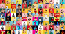 Collage Of Faces Of 55 Emotional People On Multicolored Backgrounds. Expressive Models, Multiethnic Group. Human Emotions, Facial Expression Concept. Cheerful, Winner, Kindly, Successful. Sales. Ad.