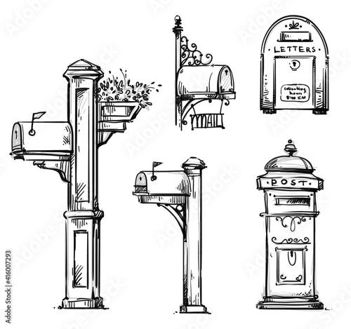 Obraz na plátně Set of vintage mailboxes, post mounted mailbox vector sketch.