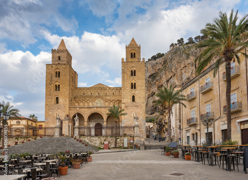 Fotografie, Obraz Cathedral Basilica of Cefalu at square Piazza del Duomo in the old town of Cefal