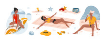 Girls Relaxing On The Beach Sand And Drinking Coctail. Woman Sitting On Surf. Summer Time Vector Illustrations.