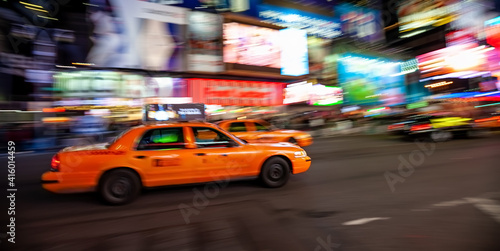 Yellow Taxi in Manhattan, New York City  in USA with blur technique © f11photo