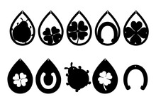 Good Luck Black Symbol Silhouettes. Earrings Cut Files Templates. Basis Graphics On White Background