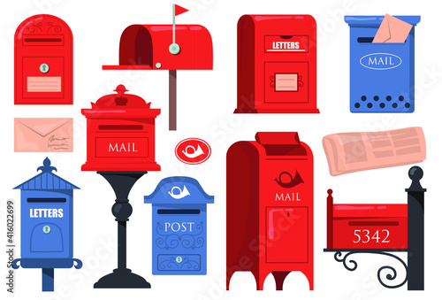 Fototapeta Traditional English Letterboxes Set Red Blue Vintage Mailboxes Old Postboxes Wit