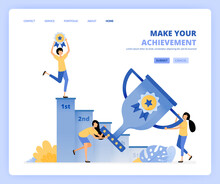 People Win Awards By Holding Trophies And Medals. Climb Ladder To Reach The Target And Become Number One. Can Be Use For Landing Page Template Ui Ux Web Mobile App Poster Banner Website Flyer Ads