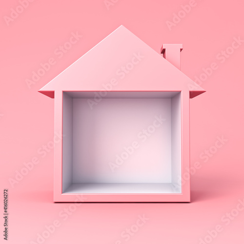 Sweet exhibition booth blank display house box stand isolated on pink pastel color background minimal conceptual 3D rendering © masterzphotofo