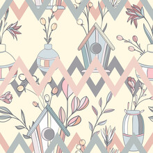 Scandinavian Abstract Seamless Pattern With Geometric Patterns, Flowers And Birdhouses