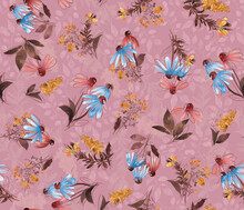 Watercolor Floral Pattern, Wild Flowers Seamless Background, Conflowers Meadow. Print For Fabrics, Wrapping Paper, Textile Design