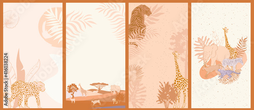 Photo Collection of vertical background with African wild animals, plants