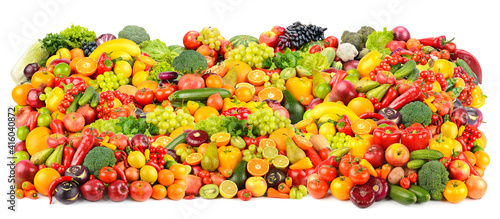 Great background of fresh and healthy fruits and vegetables isolated on white © Serghei Velusceac