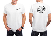 Men's White T-shirt Template, Front And Back