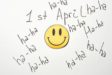 April Fools Day Jokes On The Whiteboard With A Smile Paper Cut