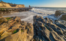 The Beautiful Landscape Of The Pacific Coast, Rocks, Ocean, Waves, Santa Cruz And Davenport Have Some Of The Most Beautiful Beaches In California.