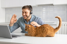A Man Making An Online Video Call From Home. He Sits At A Table With A Cat And Talks On A Video Link In Front Of A Laptop Monitor.