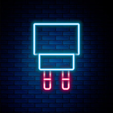 Glowing Neon Line Charger Icon Isolated On Brick Wall Background. Colorful Outline Concept. Vector.