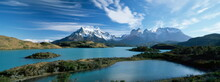 Cuernos Del Paine Rising Up Above Lago Pehoe, Torres Del Paine National Park, Patagonia, Chile, South America