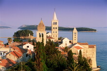 Medieval Rab Bell Towers And Elevated View Of The Town, Rab Town, Rab Island, Dalmatia, Dalmatian Coast, Croatia, Europe