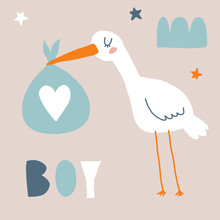 Baby Shower Vector Card With Funny White Stork Holding Big Blue Bag. Cute Hand Drawn Illustration For Baby Boy Welcome Party. White Bird On A Beige Background.