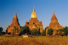 Golden Spire On Ancient Temple In Old Bagan (Pagan), Myanmar (Burma)