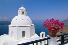 Greek Orthodox Church In Thira, Santorini, Cyclades Islands, Greece