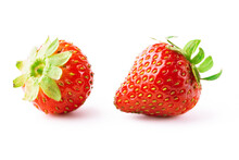 Two Ripe Strawberry Fruits Isolated On White Background. Clipping Path