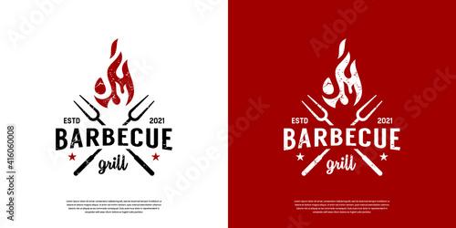Fotografía Vintage Retro BBQ Grill, Barbecue, Barbeque Label Stamp Logo design vector