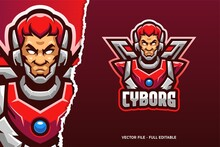 Cyborg Man E-sport Game Logo Template