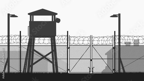 Billede på lærred chain fence and guard tower at military base
