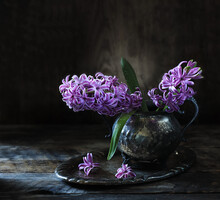 Still Life With A Bouquet Of Hyacinths In A Vintage Vase On A Wooden Table.