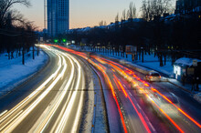 Blurred View Of City Traffic Lights At Night