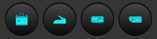 Set Car Battery, Handbrake, Door Handle And Icon. Vector.