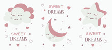 Cute Baby Card With A Sleepy Dreamy Star, Cloud, Moon In Pastel Colors. For Printing Children's Paintings For The Bedroom, Notebooks, Decorative Pillows. Vector Graphics.