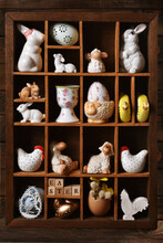 Wooden Shadow Box With Easter Decors
