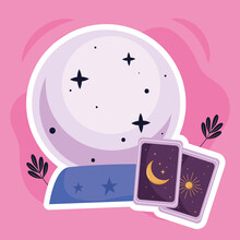 Crystal Ball With Divination Cards Esoteric Icons Vector Illustration Design