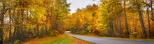 Road  Winding Through  Colorful  Autumn Forest. Blue Ridge Parkway Fall Season. North Carolina, USA. Image For Banner Or Web Header.