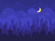 Night Cityscape. Cartoon City At Night With Skyscrapers Skyline, Clouds And Moon. Panorama With High Buildings, Houses And Towers In Town Vector Background Illustration. Business Downtown