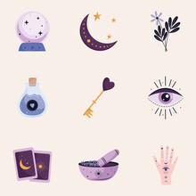 Bundle Of Nine Esoteric Art Set Icons Vector Illustration Design