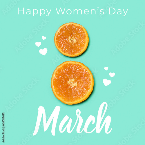 Top view of two oranges in shape of number 8 over blue background. Greeting card, postcard for Women\'s Day March 8th. Concept of holidays, greetings. Copy space for design, ad. Square composition.