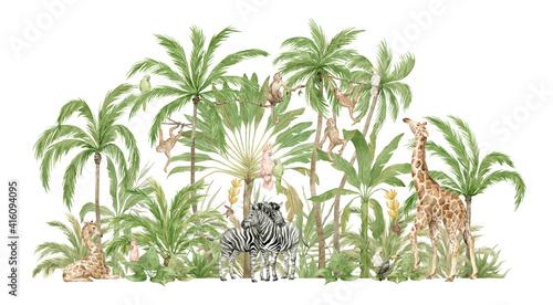 Watercolor safari animals and tropical palms. Jungle compositions. Giraffe, zebra, monkey, parrot. Brigth summer exotic jungle.  - fototapety na wymiar