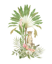 Watercolor Composition With Cheetah, Palm Tree, Parrot, Flowers And Leaves. Tropical Design, Jungle Animals And Plants. Botanical Card, Poster