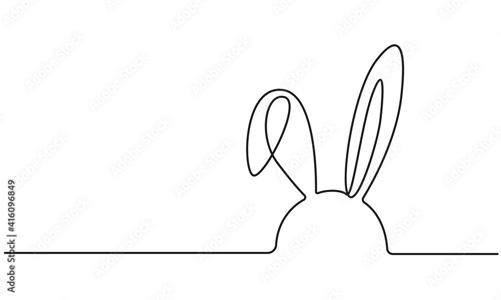 Fototapeta Easter Bunny Continuous One Line Drawing. Easter Card Line Art Style with Rabbit . Bunny Minimalist Contour Illustration for Spring Design. Vector EPS 10.
