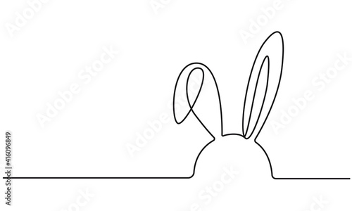 Obraz Easter Bunny Continuous One Line Drawing. Easter Card Line Art Style with Rabbit . Bunny Minimalist Contour Illustration for Spring Design. Vector EPS 10. - fototapety do salonu