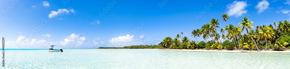 Panoramic view of a beach on the Fakarava atoll in French Polynesia