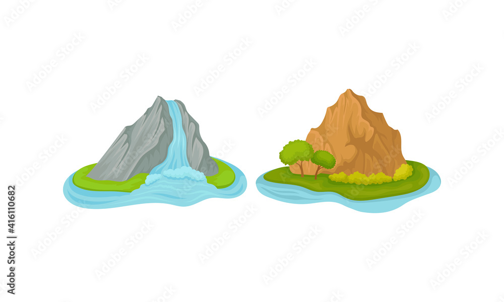 Fototapeta Islands with Waterfall and Rock Massif Surrounded by Water Vector Set