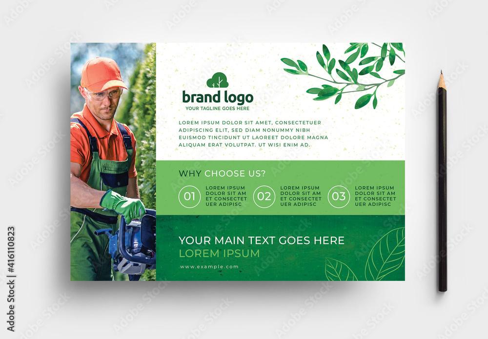 Fototapeta Green Gardener Garden Care Flyer For Landscaping Service