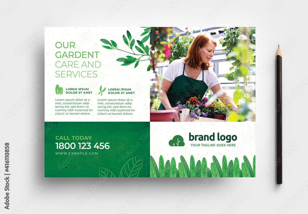 Fototapeta Green Gardener Garden Care Service Layout with Leaves & Grass