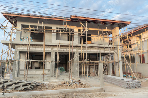 Canvas Print construction residential new house in progress at building site