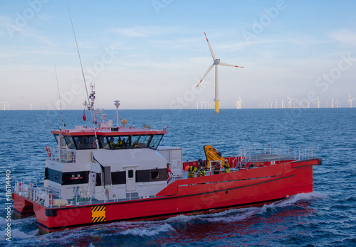 Fotografie, Obraz Crew transfer vessel about to start working in wind farm